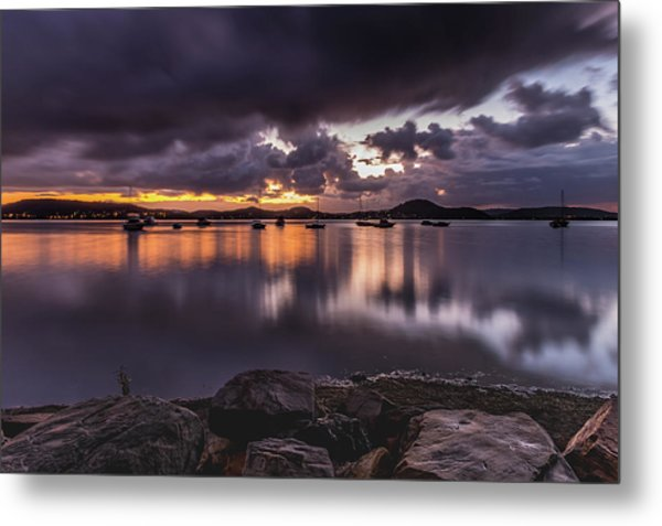 First Light With Heavy Rain Clouds On The Bay Metal Print