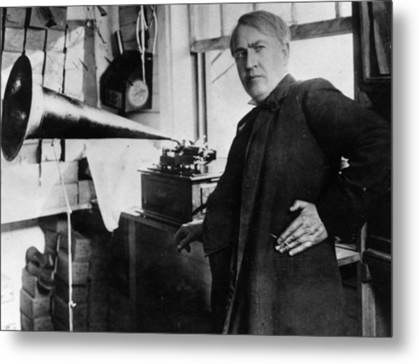 First Phonograph Metal Print by Hulton Archive