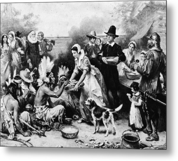 First Thanksgiving Dinner Illustration Metal Print by American Stock Archive