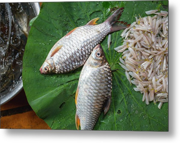 Metal Print featuring the photograph Fish At The Market by Nicole Young