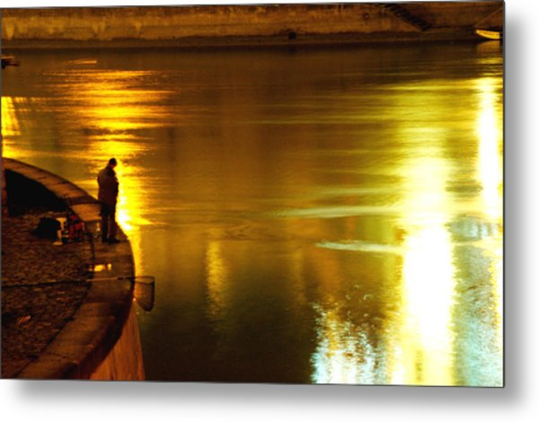 Fisherman At The Danube Canal Metal Print