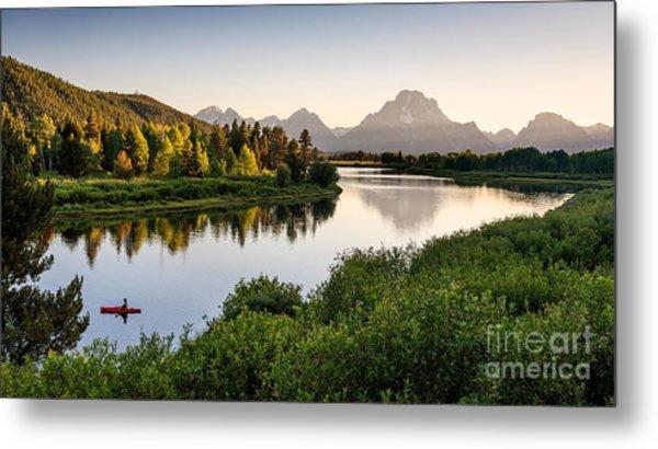 Fisherman On Snake River, Grand Teton Metal Print