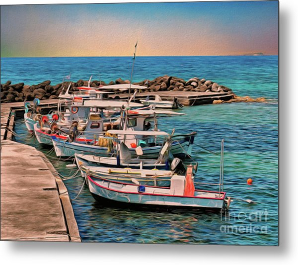 Metal Print featuring the photograph Fishing Boats Corfu by Leigh Kemp