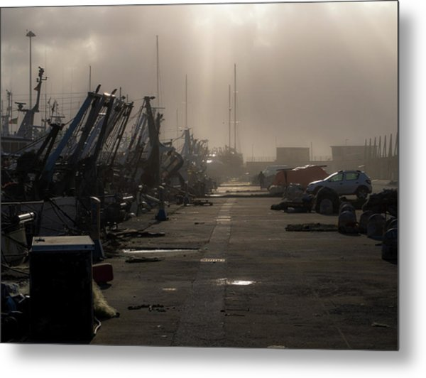 Fishing Boats Moored In The Harbor Metal Print
