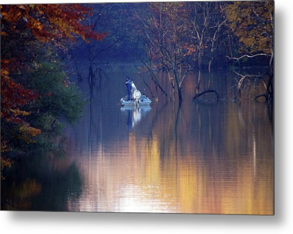 Metal Print featuring the photograph Fishing In The Fall by Mike Murdock