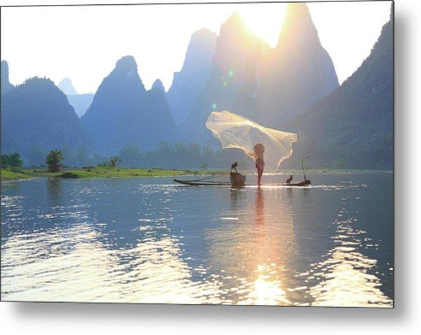Fishing On The Li River Metal Print by Bihaibo