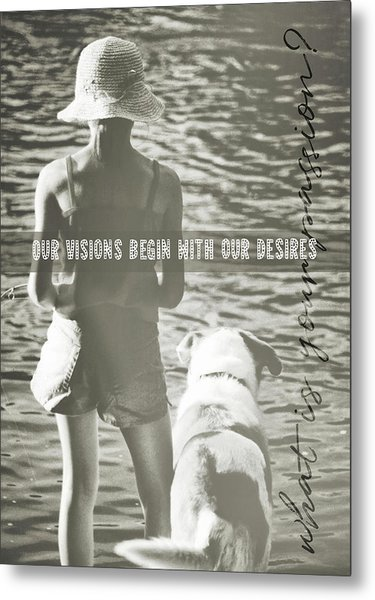 Fishing With The Pup Quote Metal Print by JAMART Photography