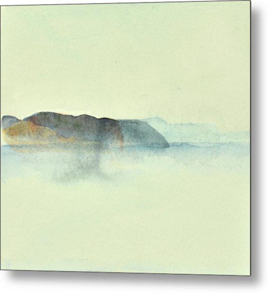 Fiske I Morgondis Hunnebo Vaestkusten   Fishing In Morning Haze Hunnebo Swedish Archipelago 76x73cm  Metal Print