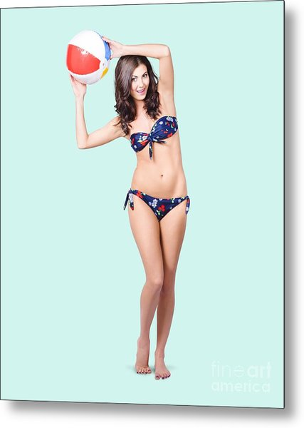 Fit And Active Girl In Bikini With Beach Ball Metal Print