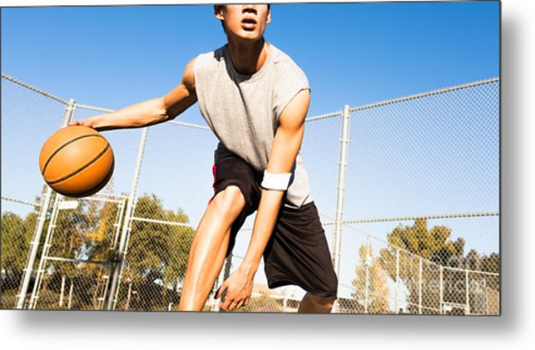 Fit Male Playing Basketball Outdoor Metal Print by Pkpix