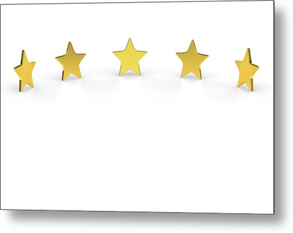 Five Golden Stars On White Background Metal Print by Bjorn Holland