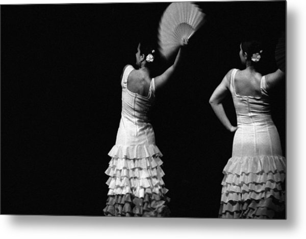 Flamenco Lace Fan Metal Print