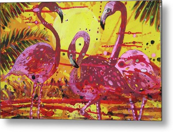 Flamingo Sunset Metal Print