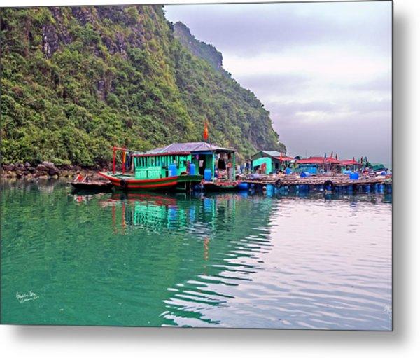 Floating Market In Halong Bay, Vietnam Metal Print