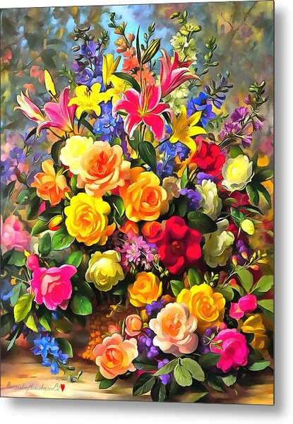 Floral Bouquet In Acrylic Metal Print