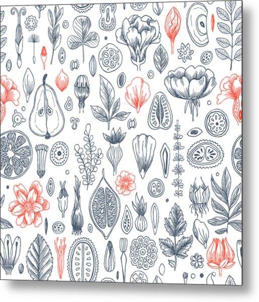 Floral Elements Background. Linear Metal Print