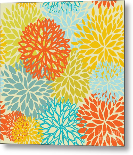 Floral Seamless Pattern Metal Print