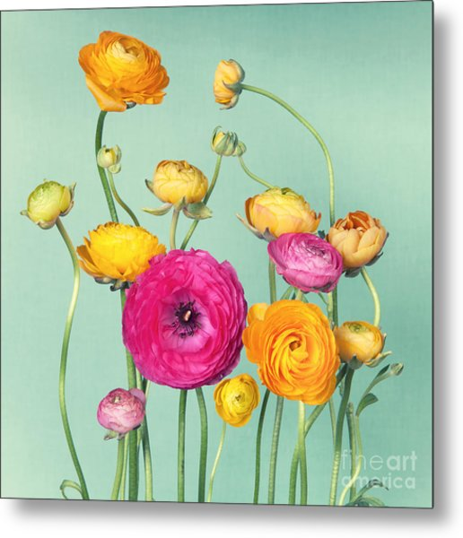 Flower Arrangement Of Colorful Metal Print