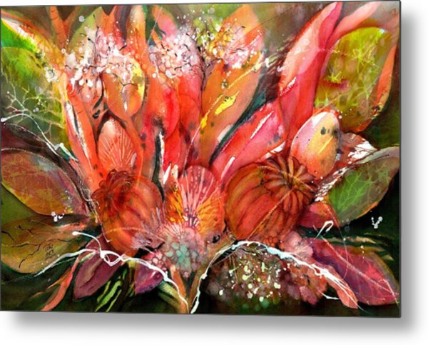 Flower Bouquet With Poppy Seed Pods Metal Print