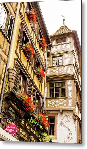 Flower Boxes Strasbourg Metal Print