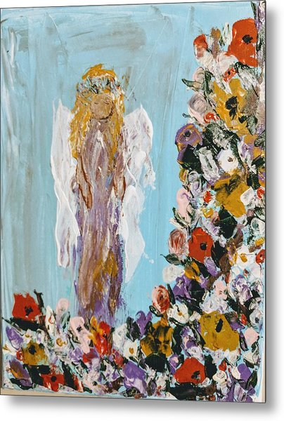Flower Child Angel Metal Print