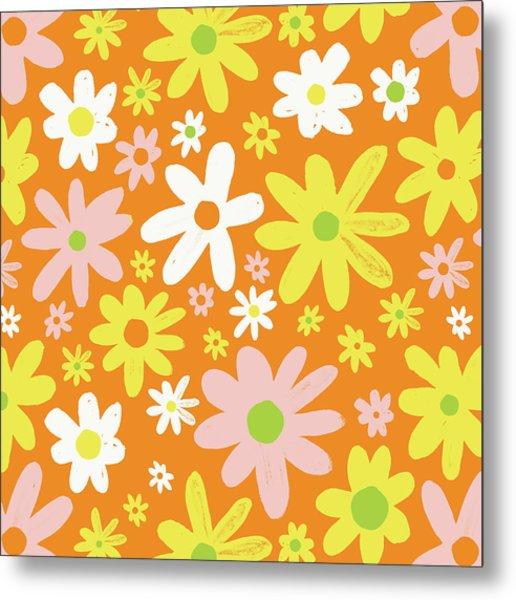 Flower Power Pattern Metal Print
