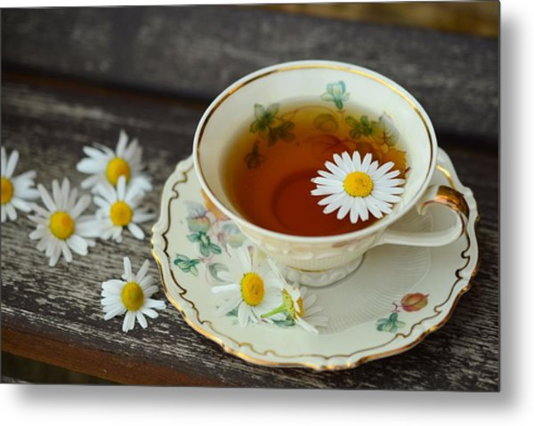 Flower Tea Metal Print