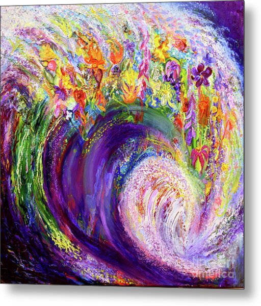 Flower Wave Metal Print