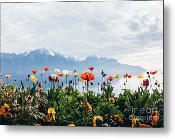 Flowers By The Lake In Montreux Metal Print
