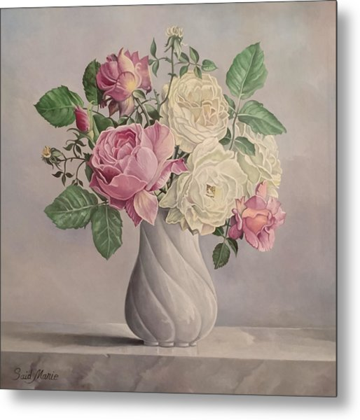 Metal Print featuring the painting Flowers by Said Marie