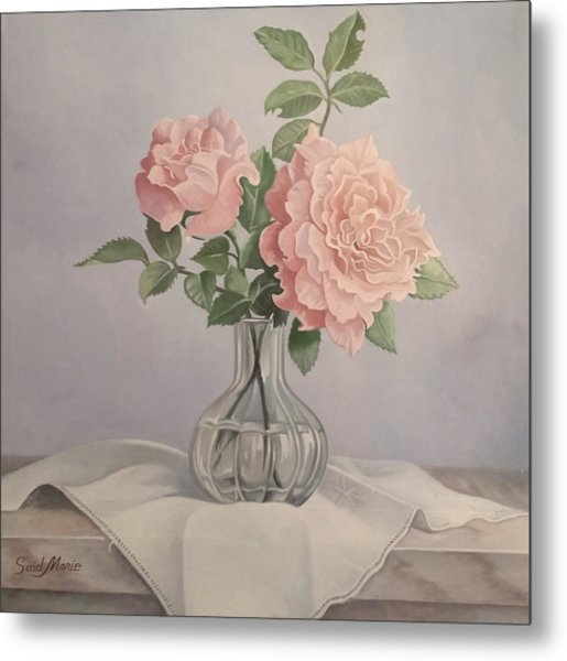 Metal Print featuring the painting Flowers Vase by Said M Marie