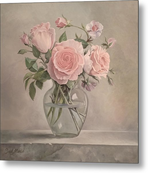Metal Print featuring the painting Flowers Vase by Said Marie