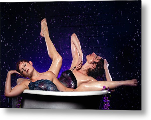 Achelois And Sister Bathing In The Galaxy Metal Print