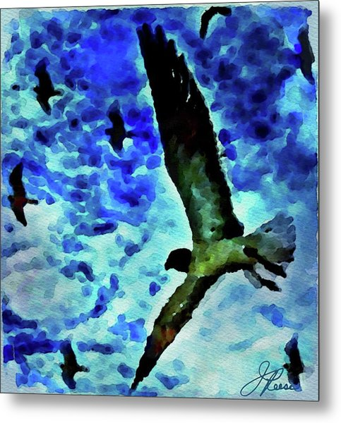 Metal Print featuring the painting Flying Seagulls by Joan Reese