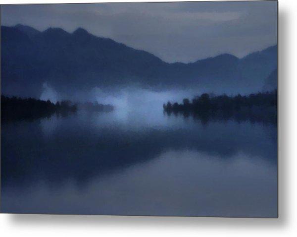 Metal Print featuring the digital art Fog On The Dark Mountain Lake by Menega Sabidussi