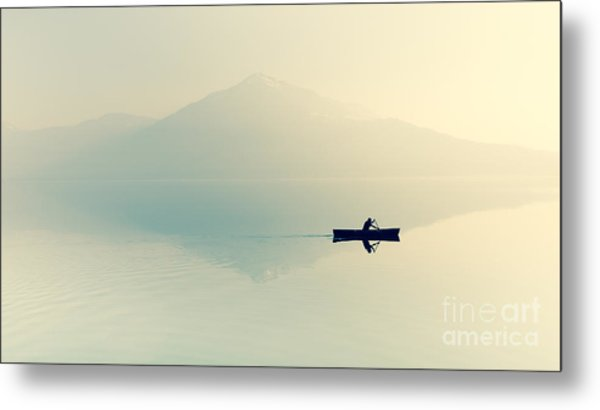 Fog Over The Lake. Silhouette Of Metal Print by Maryna Patzen