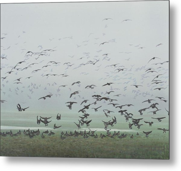 Metal Print featuring the painting Foggy Arrival by Peter Mathios