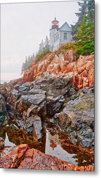 Foggy Bass Harbor Lighthouse Metal Print