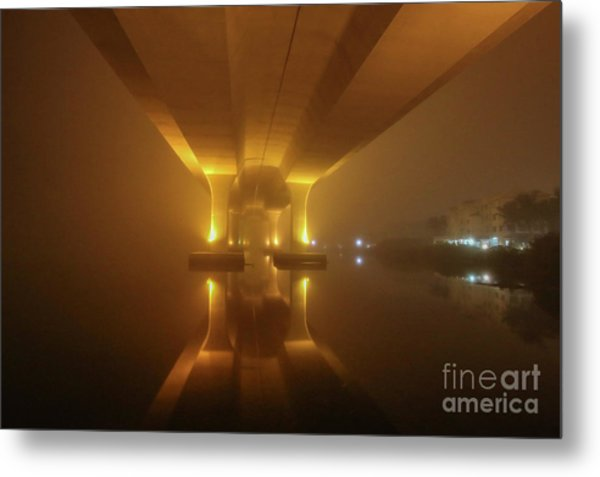 Metal Print featuring the photograph Foggy Bridge Glow by Tom Claud