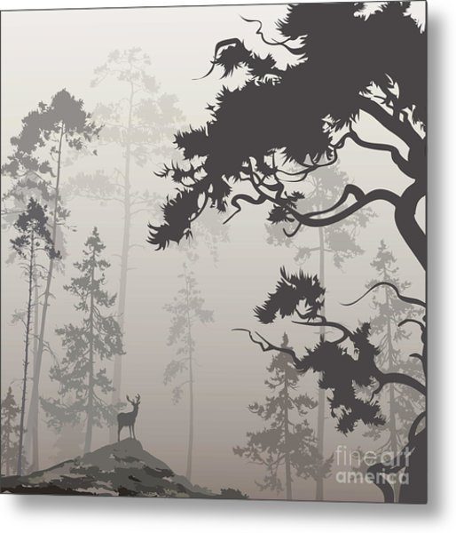 Foggy Landscape With Silhouette Of Metal Print