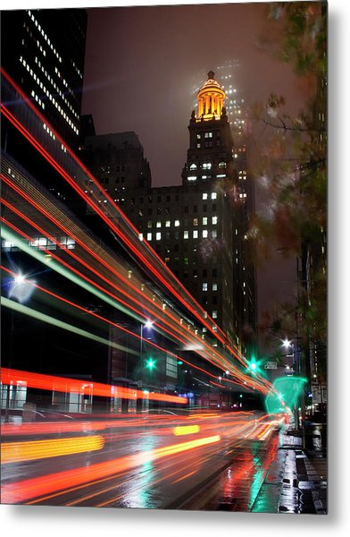 Foggy Night, City Lights Metal Print by Bill Barfield