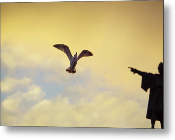 Follow This Bird -- Columbus Discovering America Metal Print