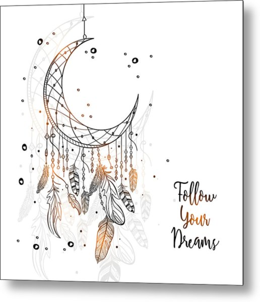 Follow Your Dreamcatcher - Boho Chic Ethnic Nursery Art Poster Print Metal Print