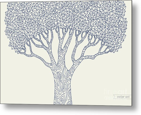 Forest Oak Tree Isolated. Vector Botany Metal Print