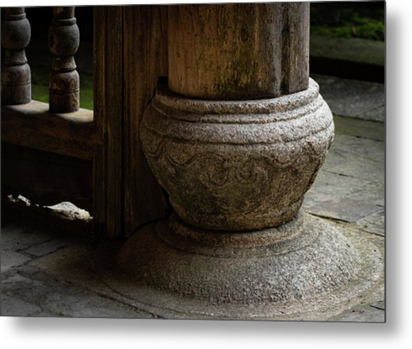 Foundation Stone Under Wooden Pole Used In Chinese Architecture Metal Print