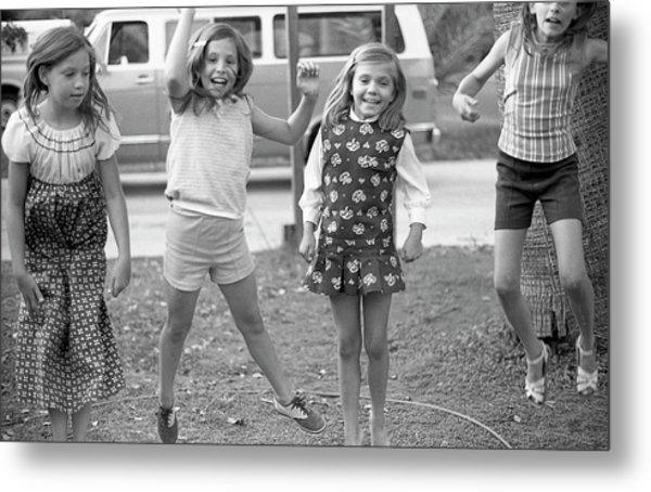 Four Girls, Jumping, 1972 Metal Print