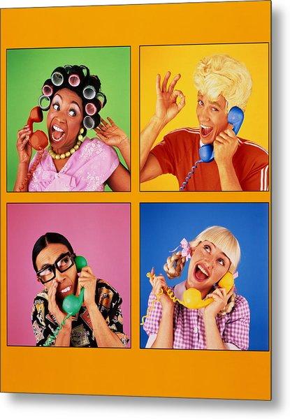 Four People Using Telephones Digital Metal Print