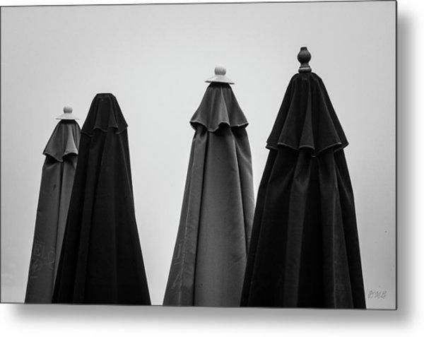 Metal Print featuring the photograph Four Umbrellas Bw by David Gordon