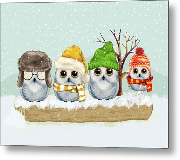 Four Winter Owls Metal Print