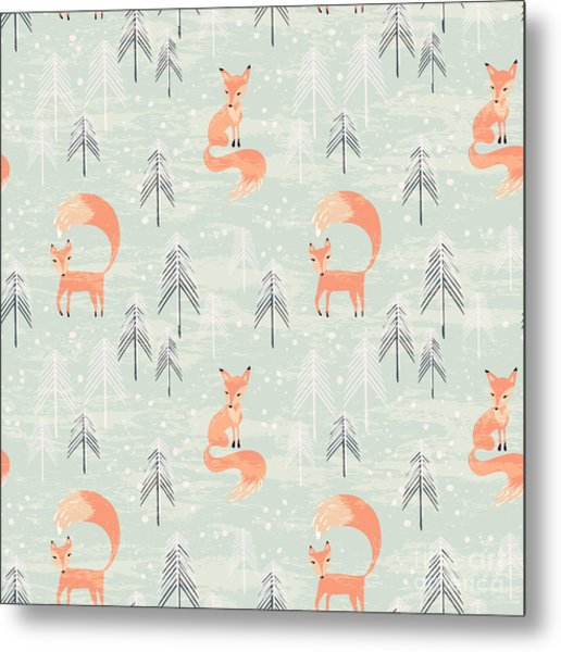 Fox In Winter Pine Forest. Seamless Metal Print